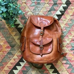 VTG Tan Leather Backpack
